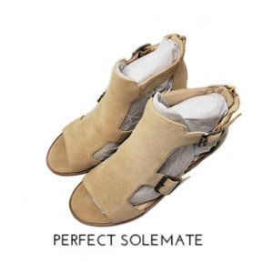Sole Society Tonni Open Toe Heel Buckle Booties